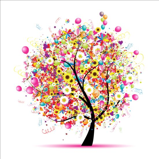 Floral tree with holiday balloons vector 02