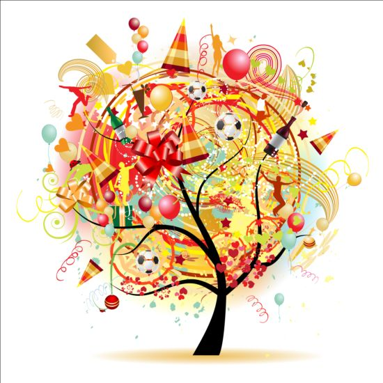 Floral tree with holiday balloons vector 05