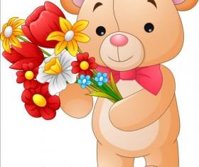Flower with teddy bear vector