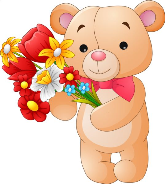 Flower with teddy bear vector free download