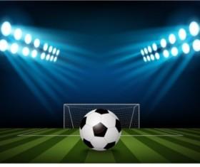 Football field and spotlights background vector 02
