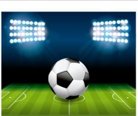 Football field and spotlights background vector 03