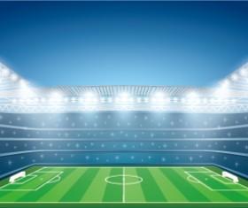 Football field and spotlights background vector 04