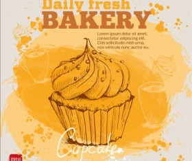 Fresh bread with bakery poster hand drawn vector 02