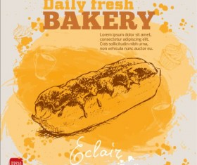 Fresh bread with bakery poster hand drawn vector 05