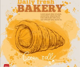 Fresh bread with bakery poster hand drawn vector 06