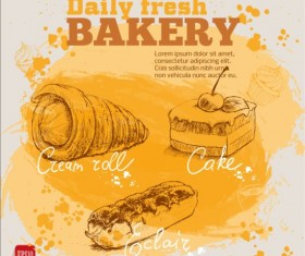 Fresh bread with bakery poster hand drawn vector 07