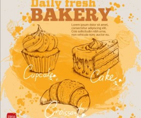 Fresh bread with bakery poster hand drawn vector 08