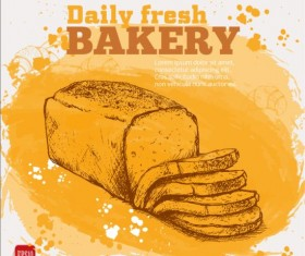 Fresh bread with bakery poster hand drawn vector 09