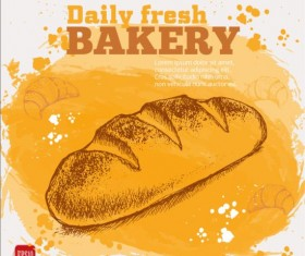 Fresh bread with bakery poster hand drawn vector 10