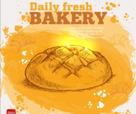 Fresh bread with bakery poster hand drawn vector 11