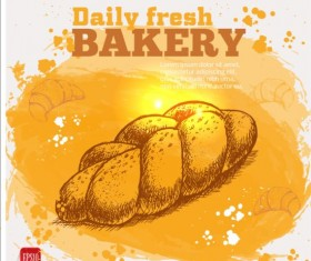 Fresh bread with bakery poster hand drawn vector 12