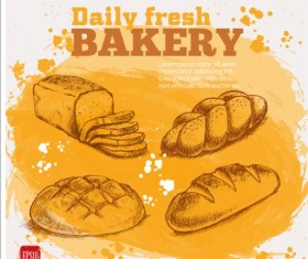 Fresh bread with bakery poster hand drawn vector 13