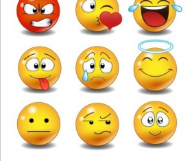 Funny spherical face expression vector