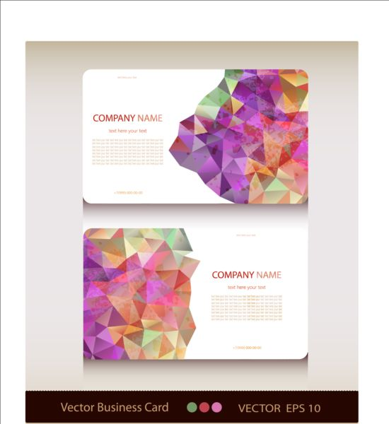 Geometric shapes business card vector set 01
