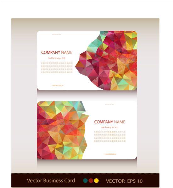 Geometric shapes business card vector set 02