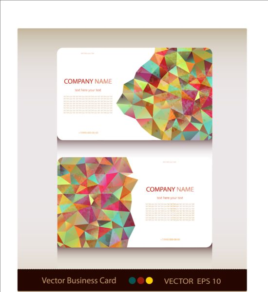 Geometric shapes business card vector set 03