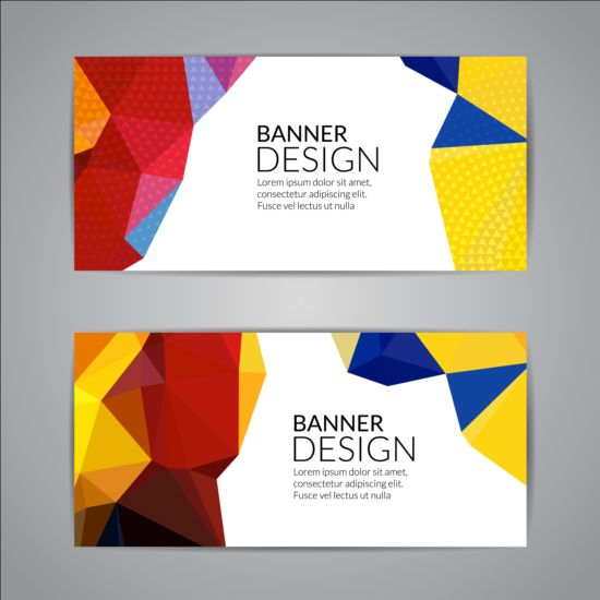 Geometric shapes with colored banners vectors 06
