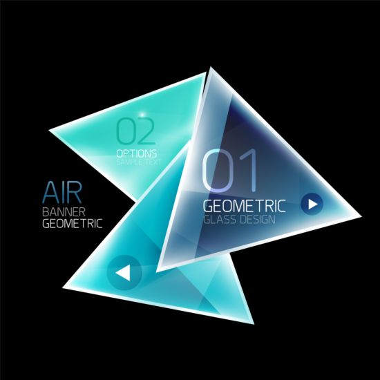 Geonetric glass modern background vector 05