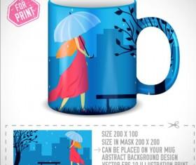 Girl and umbrella with mug vector 01