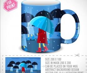 Girl and umbrella with mug vector 02