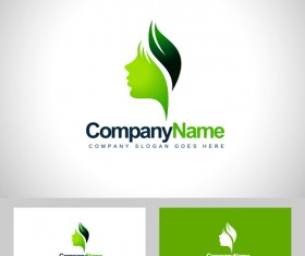 Girl head logos with business card vector