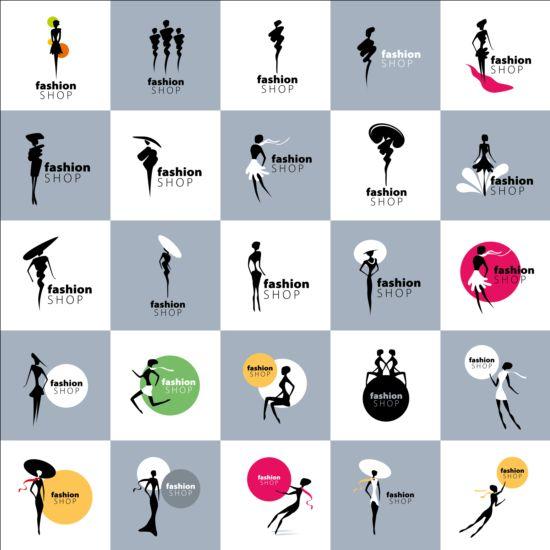 Girls and clothing fashion shop logos vector 01
