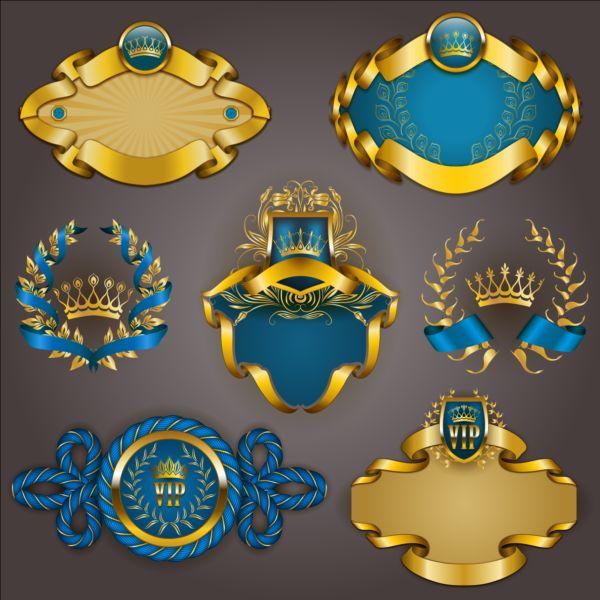 Gold crown VIP labels vector set 04