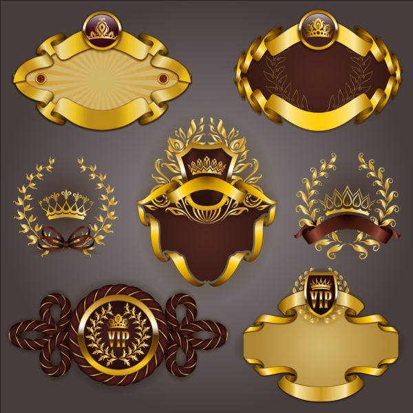 Gold crown VIP labels vector set 05