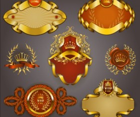 Gold crown VIP labels vector set 06