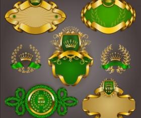 Gold crown VIP labels vector set 07