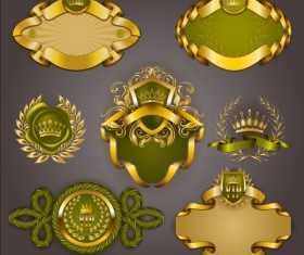 Gold crown VIP labels vector set 08