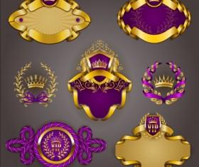 Gold crown VIP labels vector set 09