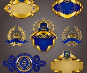 Gold crown VIP labels vector set 10
