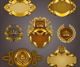 Gold crown VIP labels vector set 12