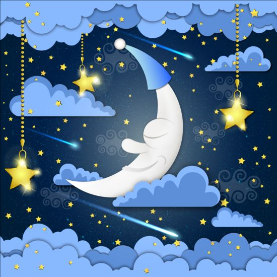 Golden stra with moon and cloud cartoon vector 01