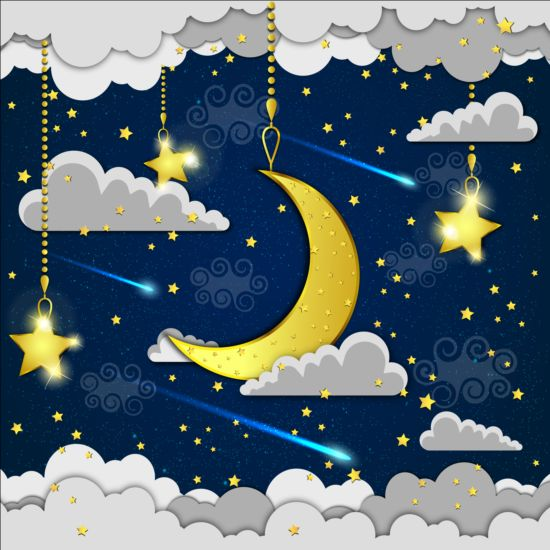 Golden stra with moon and cloud cartoon vector 02