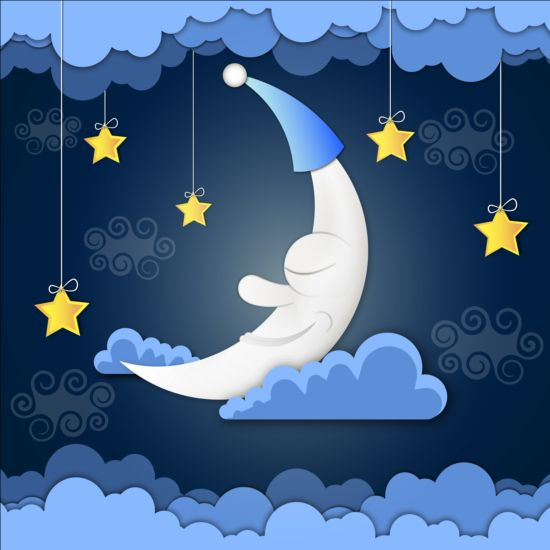 Golden stra with moon and cloud cartoon vector 03