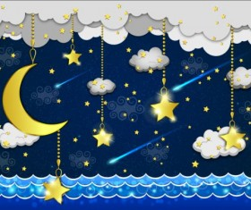 Golden stra with moon and cloud cartoon vector 06