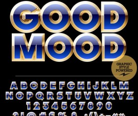 Golden with blue number and alphabets vector