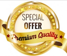 Golden with diamond premium quality labels 01