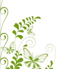 Green decor floral with grunge background vector 07