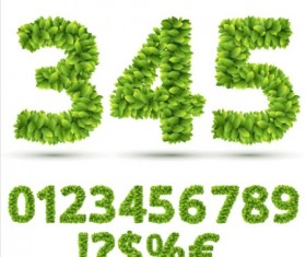 Green leaves numbers with sign vector