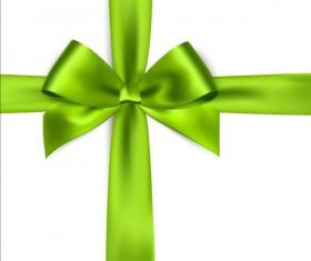 Green ribbon bows vector