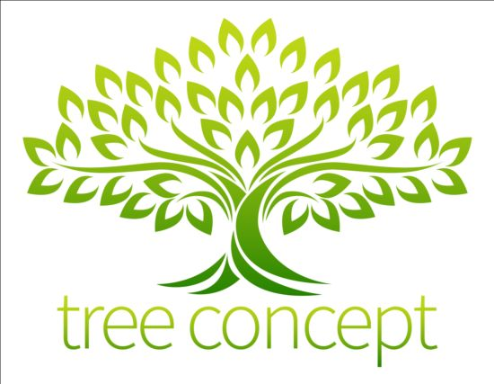 Green tree logos vector graphic 05 - Vector Logo free download