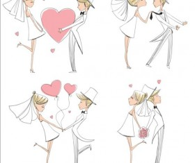 Hand drawn bride and groom vectors set