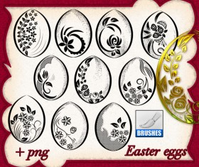 Hand drawn easter eggs photoshop brushes