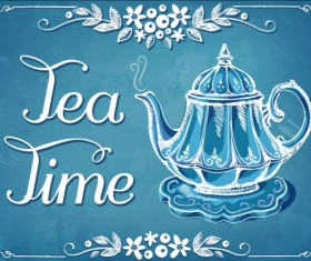 Hand drawn teapot background vector