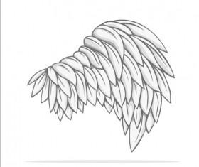 Hand drawn wing illustration vector 01