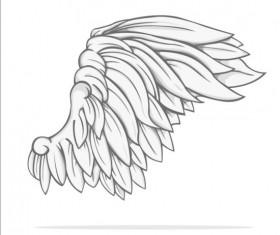 Hand drawn wing illustration vector 02